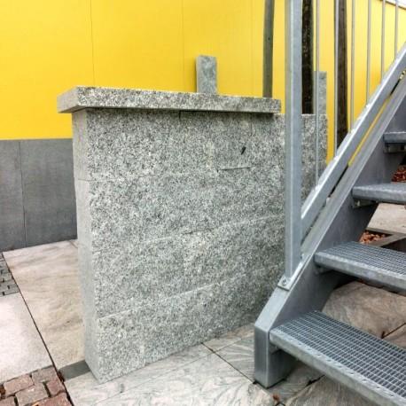 Granit Mauersteine Raudona Rot 20 cm hoch