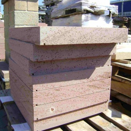 Sandstein Mauersteine Mapula Rot 15 x 20 x 40 auf Paletten