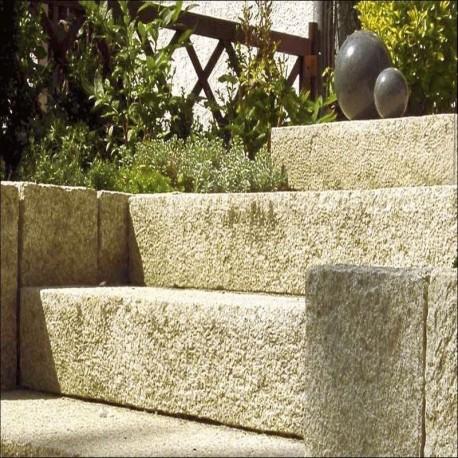 Sandstein Quader Farin Gelb beige 40 cm hoch oalettiert